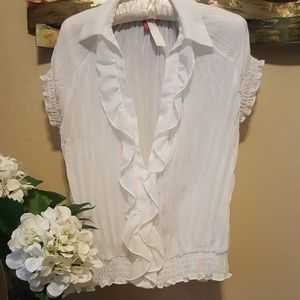 Ruffled White Blouse